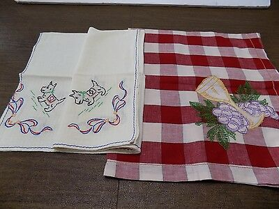 2 Vtg. Embroidered Table Throws RED CHECK & WINE  SCOTTIE DOGS  FREE SHIP