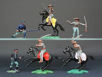 Vintage Timpo Solid Plastic ACW Mounted Confederate Officers + Infantry [Lot #5]