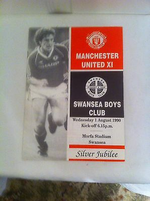 MANCHESTER UNITED PROGRAM:-  SWANSEA BOYS CLUB v MANCHESTER UNITED X1.  Aug 1990