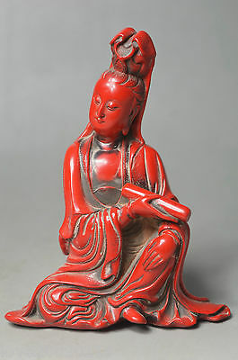 Collectible Decorated Handwork Old Coral Carve Guan-Yin Buddha Auspicious Statue