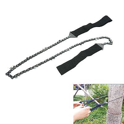 Survival Chain Saw Hand ChainSaw Emergency Camping Kit Tool Pocket Gear w/ Pouch