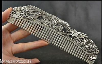 Collectibles Handwork Miao Silver Carving Dragon Phoenix Wonderful Comb