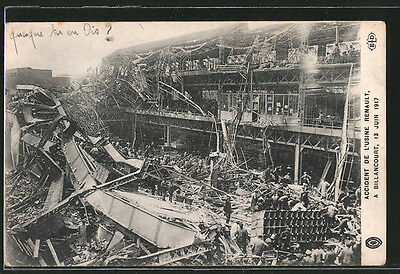 CPA Billancourt, Accident de l´Usine Renault 1917, durch Explosion détruites Fa