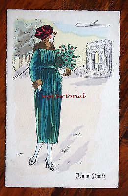 Early French Art Greetings Postcard Glamour Lady Arc Triomphe Plane Bonne Annee