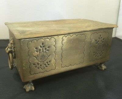 Good Quality Brass Trinket Box On Lions Feet, Lions Handles. Open To Offers.