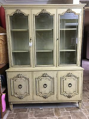 French Provincial Buffet and Glass Cabinet