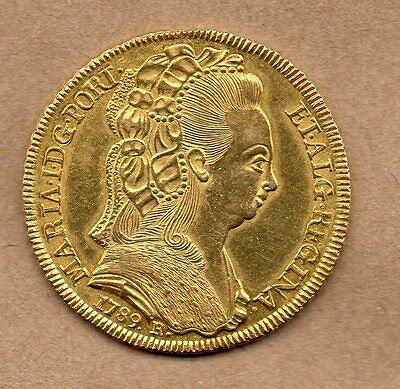 Brazil Portugal - Maria I - 6400 Reis - 1789 R - Gold Coin Km#226.1 About Unc