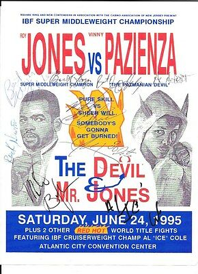 Roy Jones Vs Vinny Pazienza Poster And Ticket Stub June 24,1995 8 Autographs