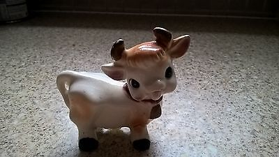 Vintage Pottery Cow Salt Or Pepper Pot(2 Holes) Height 2¾""