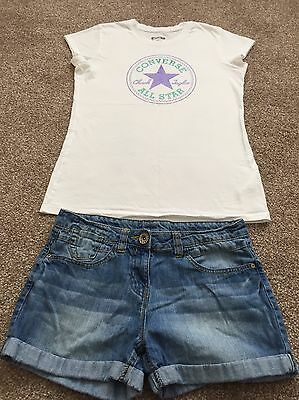 Fab Girls Spring/Summer Outfit Next Shorts Converse T-shirt Age 12 years