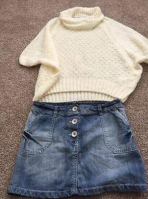 Fab Girls Spring/Summer Outfit Next Denim Skirt, Pumpkin Patch Top, Age 12 years