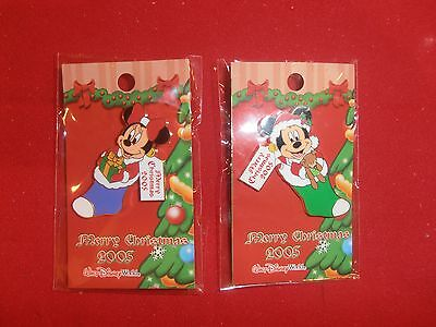2 Disney Christmas Pins Mickey & Minnie in Stockings  New  on Cards. 2005. lot A