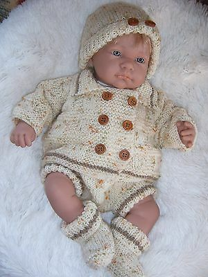 "New Knitted Baby  Pram Set 18""-20""ashton Drake Vinyl Berenguer Reborn Doll"