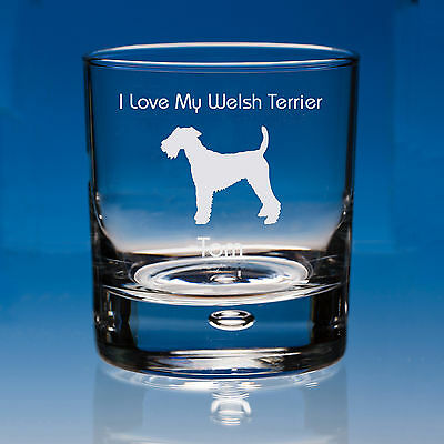 Welsh Terrier Dog Lover Gift Engraved Whisky Glass: Can Be Personalised
