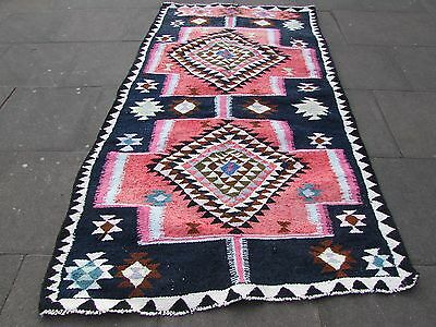 Old Traditional Hand Made Persian Oriental Kilim Wool Cotton Pink Black 260x150m