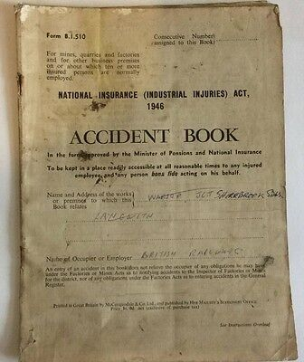 National insurance injuries book, British Rail (Act 1946) Used 1961-1988 entries
