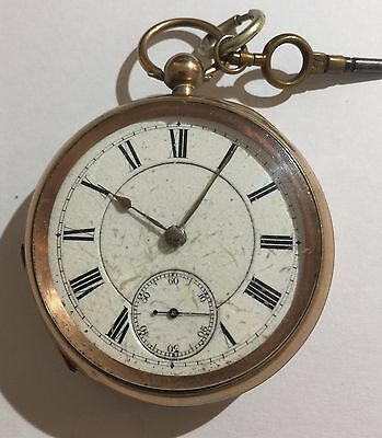 Antique Gold Plated Pocket Watch Spare Or Repair