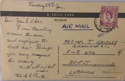Great Britain 1968 Steeple Aston Post Card Sent Airmail To Lebanon @ 6D Rate