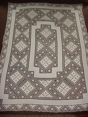 "Lovely Antique C1920 Handmade Buratto Burato Filet Lace Tablecloth 62"" by 45"" 3D"