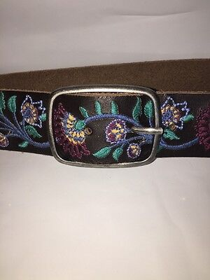 Lucky Brand Women's Brown Leather Belt S Blue, Green, Maroon & Gold Nwt