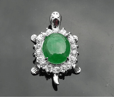 Jewelry Genuine jade tortoise with crystal pendant necklace Free Chain