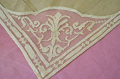 Vintage Handmade Italian Limerick Lace & Linen Tablecloth & 6 Napkins Ss108