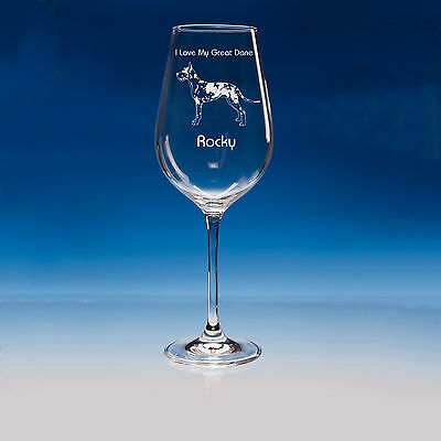 Harlequin Great Dane Dog Lover Gift Personalised Engraved Quality Wine Glass
