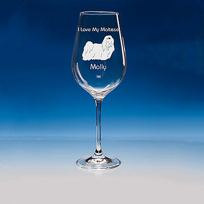 Maltese Dog Lover Gift Personalised Engraved Quality Wine Glass - Birthday