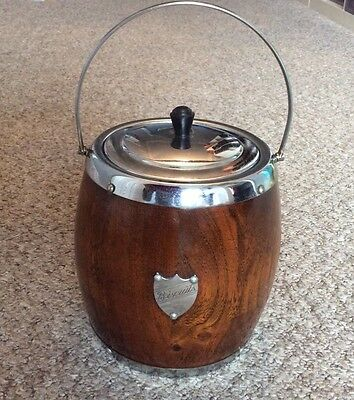 Vintage Wooden Biscuit Barrel With Ceramic Inner And Chrome Trim