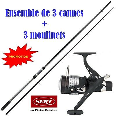 3 cannes a carpe 3.60m 3lbs + moulinet debayable  + fil << transport gratuit >>