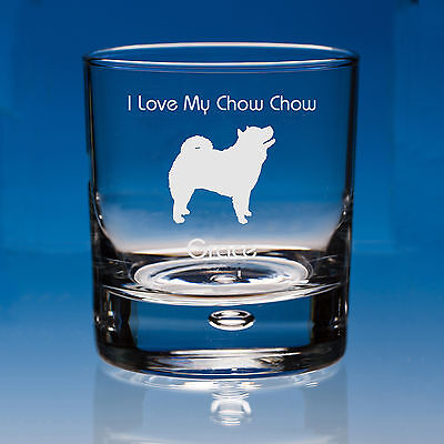 Chow Chow Dog Lover Gift Engraved Whisky Glass: Can Be Personalised