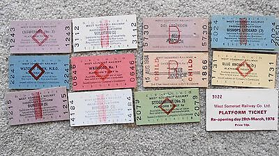 12 WEST SOMERSET RAILWAY mostly platform tickets including 1976 re-opening