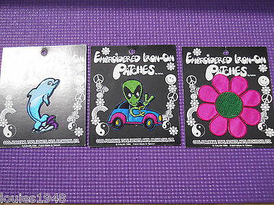 ALIEN Driving VW DOLPHIN & FLOWER Vintage Retro Embroidered PATCH LOT 3 M.O.C.