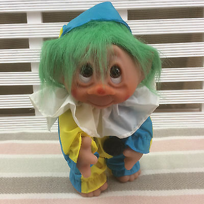 """Vintage Troll Doll in Clown Outfit 9"""" by Thomas Dam 1977 Made in Denmark"""
