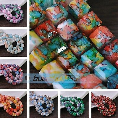 NEW 8mm 10mm Colorful Cube Square Faceted Glass Loose Spacer Beads DIY Findings