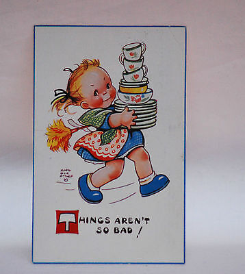 MABEL LUCIE ATTWELL  .  THINGS ARNT SO BAD  attwell POSTCARD vintage old