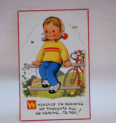 MABEL LUCIE ATTWELL  .  WHENEVER IN ROAMING   attwell POSTCARD vintage old