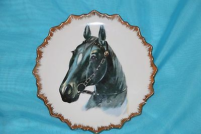 BLACK BEAUTY HORSE Japan Scalloped Gold Trim Edge ARTMARK Collect Vintage Plate