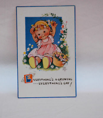 MABEL LUCIE ATTWELL  .  EVERYTHINGS A GROWING GAY   attwell POSTCARD vintage old