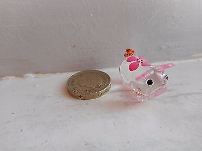 Pig - Beautiful Tiny Miniature Clear With Pink Flower Coloured Glass  -  Pig
