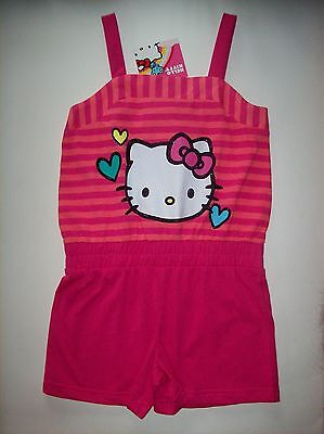Hello Kitty Romper Playsuit Jumpsuit Girls One-Piece Sz 6 Pink Sanrio Hearts NWT