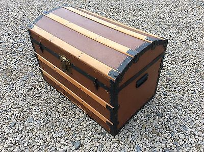 Superb Antique Metal & Wood Dome Top Banded Bound Cabin Trunk / Travel Chest