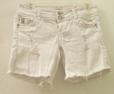 Women's Sz 3 Juniors ALMOST FAMOUS  White Semi-Distressed Cut-Out Shorts.