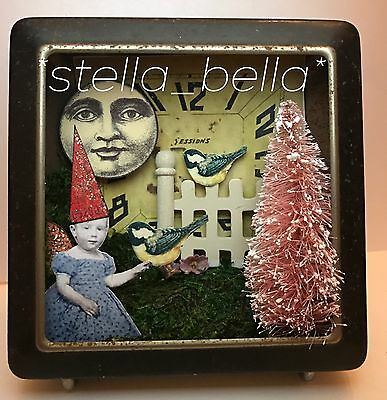 Fairy vtg Clock ShadowBox Altered Art vtg Ooak Collage Handcrafted Mixed Media