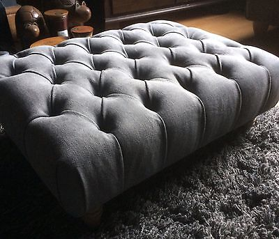Designer Guild Brushed Cotton Fabric Buttoned Footstool In  Grey