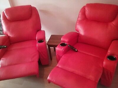 2 x FoxHunter Leather Massage Cinema Recliner Chairs Sofa Swivel Rocking