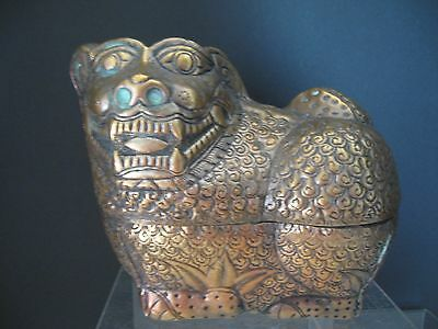 Antique Foo Dog Lion Metal Box/Container- Hand Crafted Asian Metal FOO DOG LION