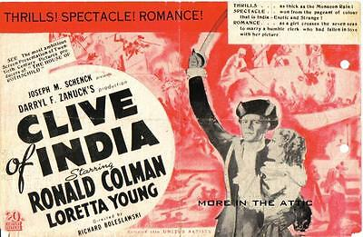 Ronald Colman Loretta Young Clive Of India Orig Fox Us Movie Herald