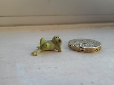 Frog - Beautiful - Detailed Colourful Tiny Miniature Cute Pottery Relaxed  Frog