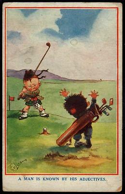 "Vintage Postcard - Sport, Golf "" A Man Is Known By His Adjectives"" - T. Crilson"